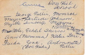 Names of Children in Rose Hill School Picture